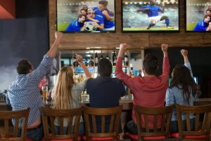 sports bar with HD televisions