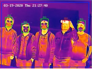 the thermal temperature screening camera scans a group of employees